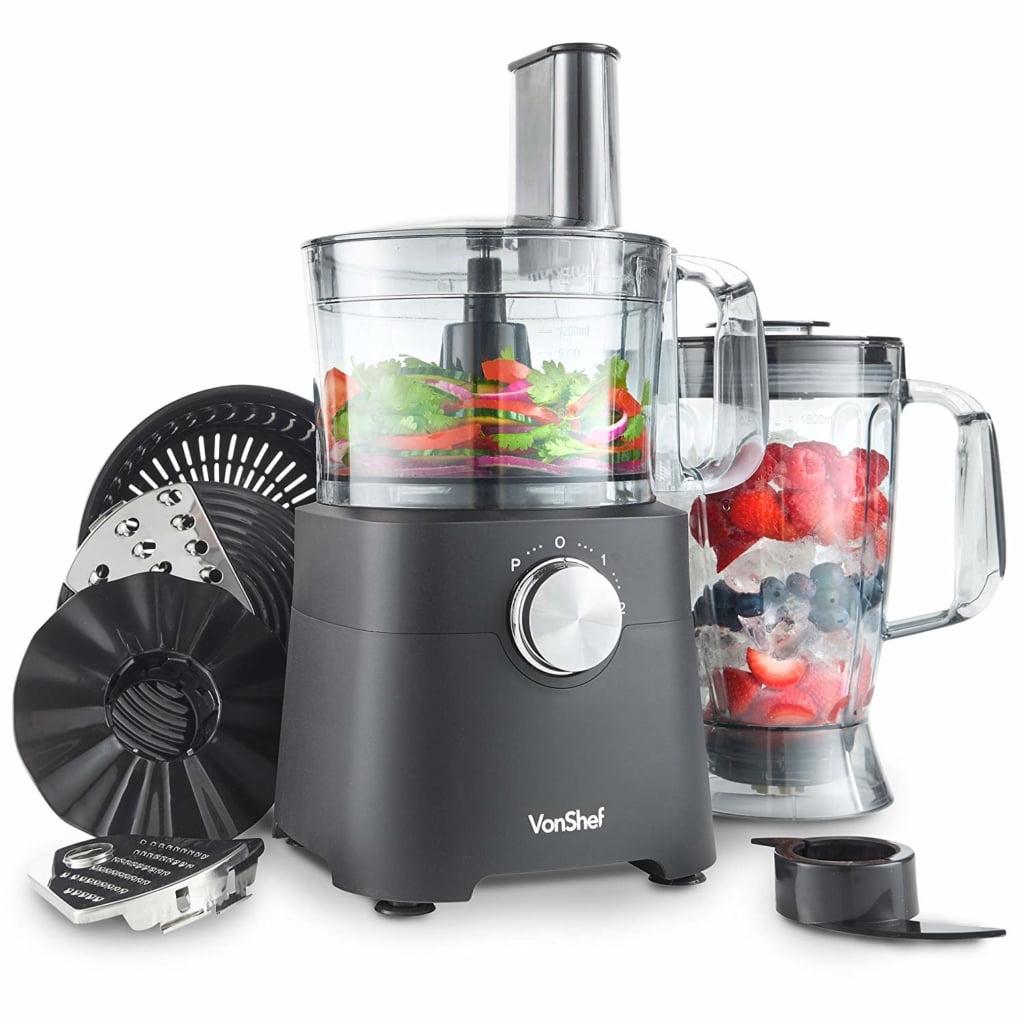 VonShef 750W Food Processor - Blender, Chopper, Multi Mixer Machine with Dough Blade, Shredder & Grater Attachment – 2L Mixing Bowl & 1.8L Jug