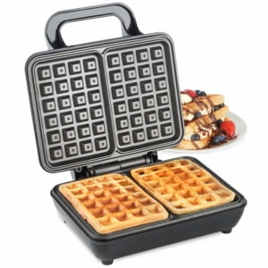 VonShef Waffle Maker, Dual Belgian Waffle Easy Clean Non-Stick Coated Plates & Automatic Temperature Control, Compact Stainless Steel Design – 1000W