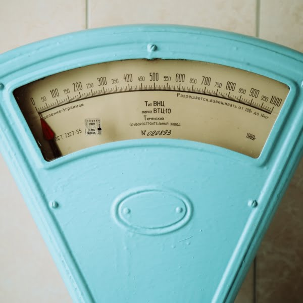 set of blue weight scales