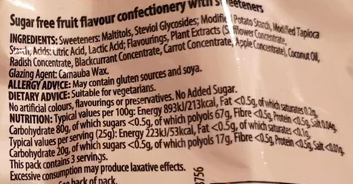 ingredients list for sugar free fruit flavour sweets