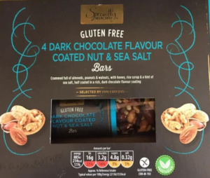 Dark chocolate flavour coated nut and sea salt bars