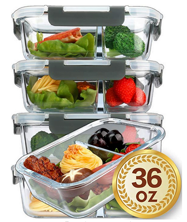 Glass Meal Prep Container 2 Compartments