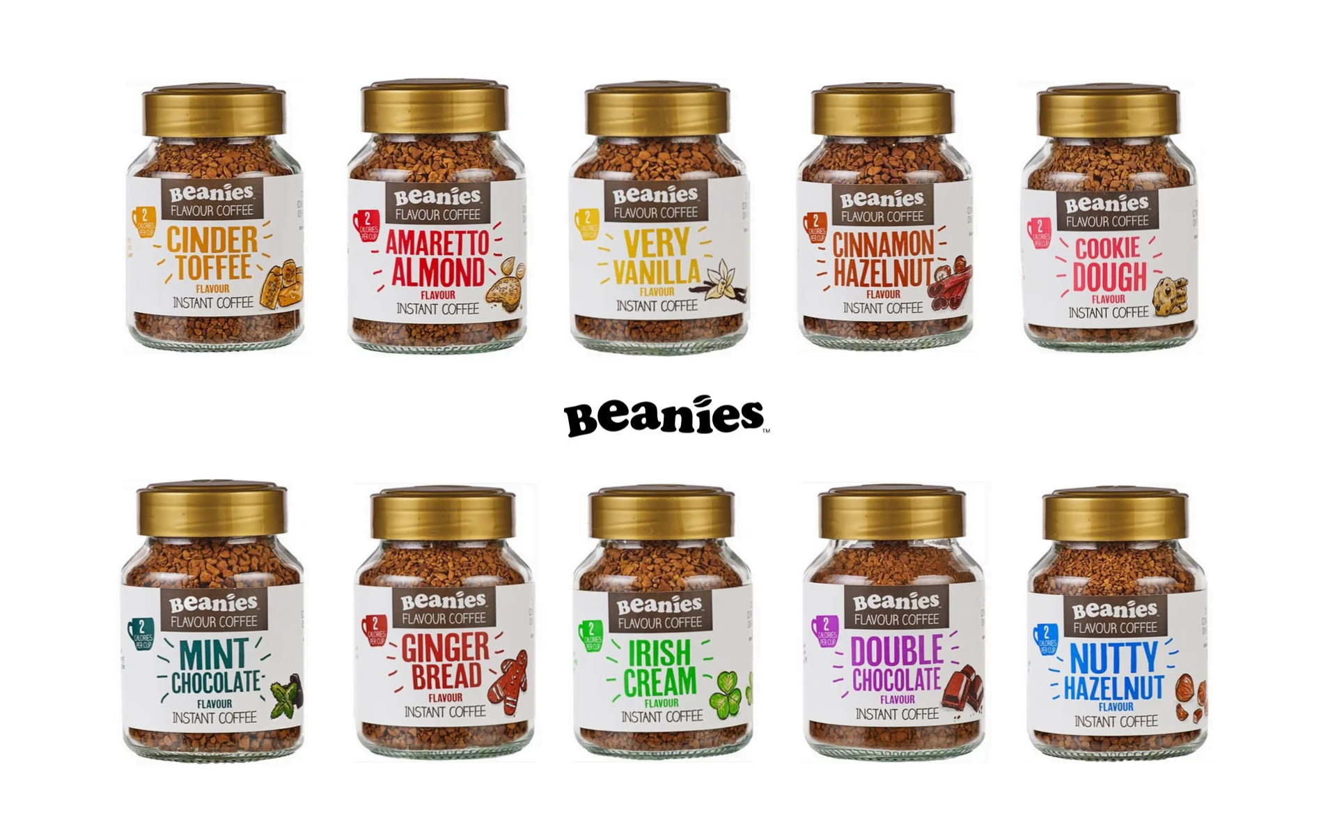beanies flavour co instant coffee jars