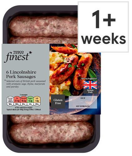 Tesco Finest British Lincolnshire Pork Sausages