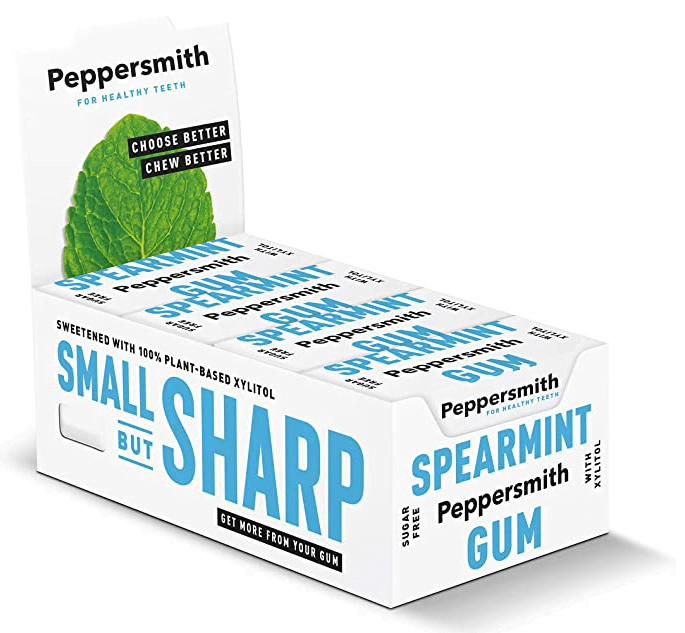 Peppersmith English Spearmint 100% Xylitol-Sweetened Chewing Gum